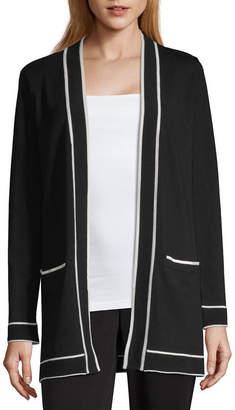 Liz Claiborne Womens Long Sleeve Open Front Bordered Cardigan