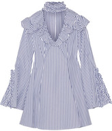 Caroline Constas Micki Ruffled Striped Cotton Oxford Mini Dress - Blue
