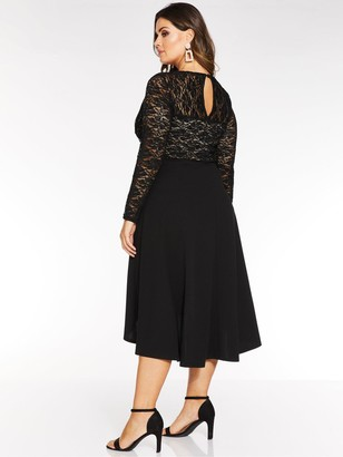 Quiz Curve Sequin Lace Long Sleeve Dip Hem Dress - Black