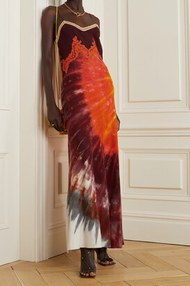Gabriela Hearst Adolphine Lace-trimmed Tie-dyed Cashmere And Silk Maxi Dress - Orange