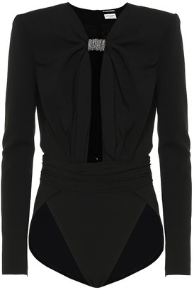 Saint Laurent Crystal-embellished crepe bodysuit