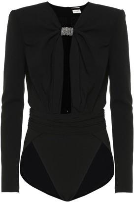 Saint Laurent Crystal-embellished crepe bodysuit