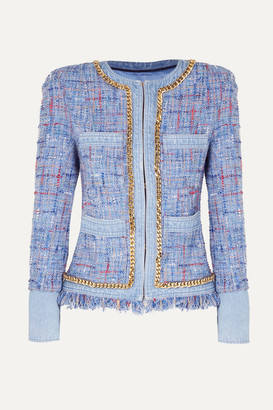 Balmain Chain-embellished Cotton-tweed And Denim Blazer - Blue