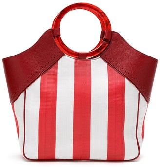Sarah Chofakian canvas striped Castel bag