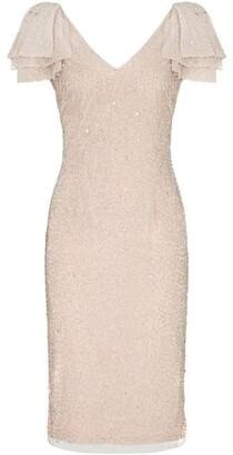 Adrianna Papell Beaded V Neck Dress