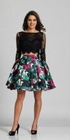 Dave and Johnny Two Piece Long Sleeve Floral Pleated Party Dress