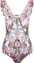 Fendi Ruffled Cutout Floral-print Swimsuit - Blush