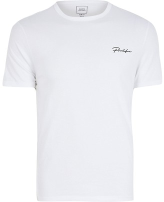 River Island Big and Tall Prolific white slim fit T-shirt