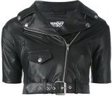 Jeremy Scott shortsleeved cropped biker jacket - women - Sheep Skin/Shearling/Polyester - 40