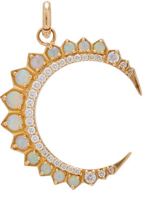 Storrow 14K Gold and Opal Crescent Moon Charm