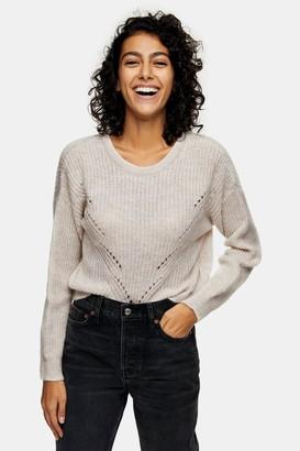 Topshop Womens Oatmeal Stitch Knitted Jumper - Oatmeal