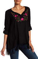 Karen Kane Embroidered Tassel Trim Blouse