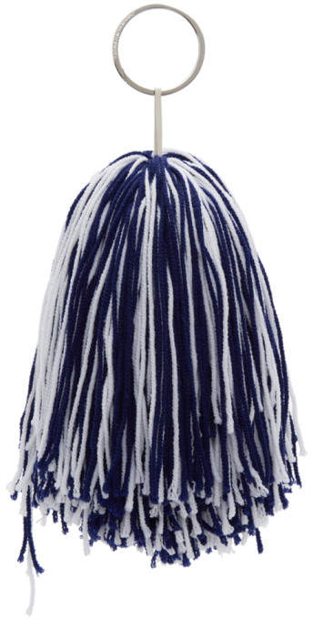 Calvin Klein White and Blue Pom Pom Keychain