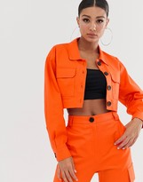 Asos Design DESIGN cropped utility suit blazer in orange
