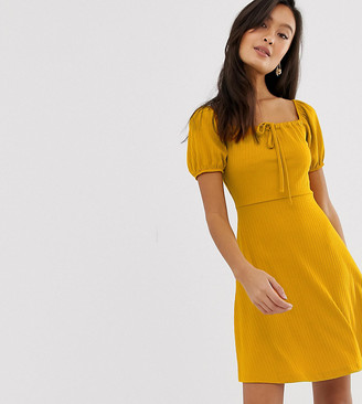 New Look jersey skater dress in mustard-Yellow