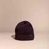 Burberry Waffle Knit Wool Cashmere Beanie, Purple