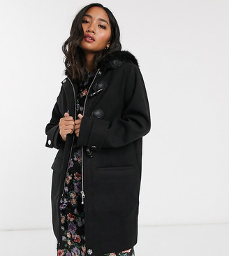ASOS DESIGN Petite duffle coat with faux fur trim in black