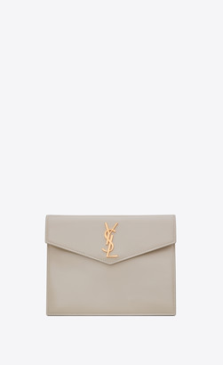 Saint Laurent Monogram Slg Uptown Baby Pouch In Shiny Smooth Leather Blanc Vintage Onesize