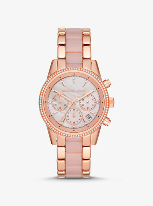 Michael Kors Ritz Rose Gold-Tone and Acetate Watch