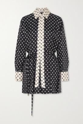 Valentino Printed Silk-twill Playsuit - Black