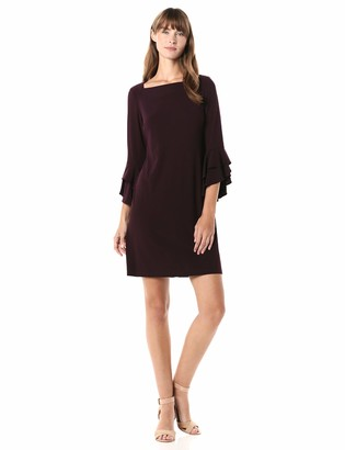 Gabby Skye Women's 3/4 Tiered Flutter Sleeve Square Neck Solid A-Line Dress