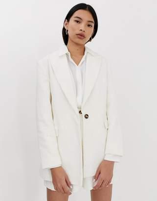 Asos Design DESIGN cream cord suit blazer