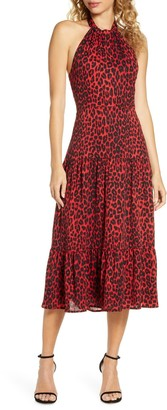 Sam Edelman Leopard Print Halter Midi Dress