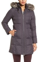 Larry Levine Women's Down & Feather Fill Coat With Faux Fur Trim