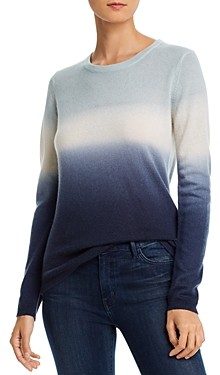 Minnie Rose Crewneck Dip-Dyed Cashmere Sweater