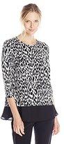 Karen Kane Women's Leopard Print Contrast Top