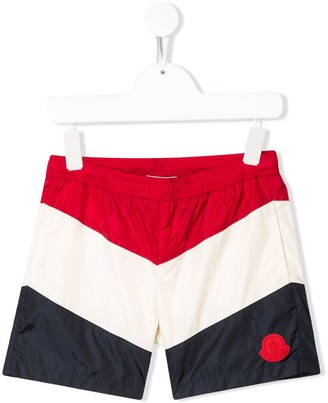 Moncler Enfant Striped Swim Shorts