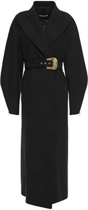 Just Cavalli Belted Brushed Wool-blend Felt Coat