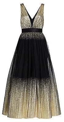 Jenny Packham Women's Sleeveless Metallic Cascading Gown