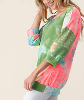 Blumin Women's Blouses Olive - Olive Tie-Dye & Polka Dot Three-Quarter Sleeve Top - Women & Plus