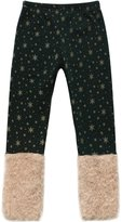 Richie House Girls' Pants with Gold Snowflakes and Fluffy Cuffs RH0886-A-4/5