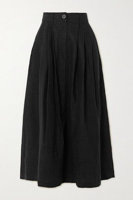 Mara Hoffman Net Sustain Tulay Pleated Lyocell And Organic Linen-blend Midi Skirt - Black