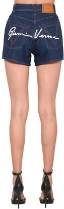 Versace Back Signature Logo Cotton Denim Shorts