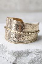 LuLu*s Celebrated Tradition Gold Cuff Bracelet