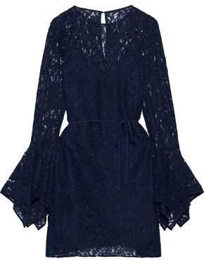 Zac Posen Lena Belted Cotton-blend Corded Lace Mini Dress