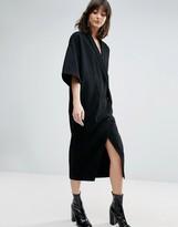 Asos Buttoned Kimono Denim Dress In Washed Black