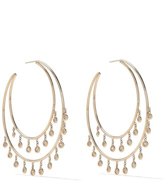 Jacquie Aiche 14kt yellow gold Shaker diamond double row hoop earrings