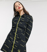 Collusion COLLUSION zip through shirt dress with typo print and pockets