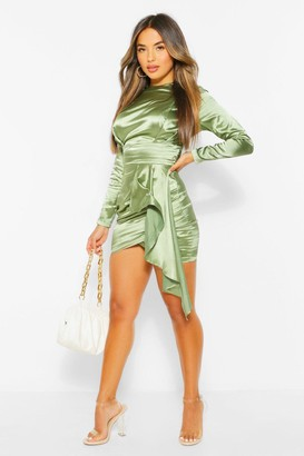 boohoo Petite Satin High Neck Drape Bodycon Dress