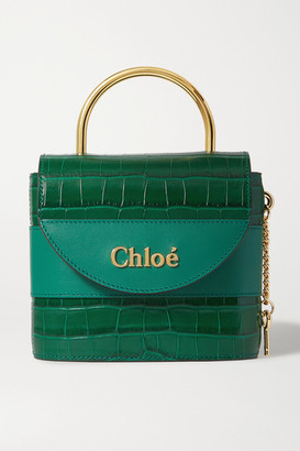 Chloé Aby Lock Small Croc-effect Leather Shoulder Bag - Emerald