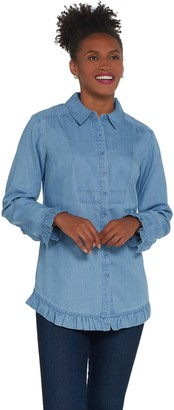 Isaac Mizrahi Live! Button Front Chambray Top with Ruffle Hem