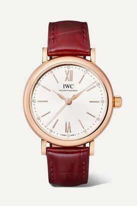 IWC SCHAFFHAUSEN - Portofino Automatic 34mm 18-karat Red Gold, Alligator And Diamond Watch - Rose gold