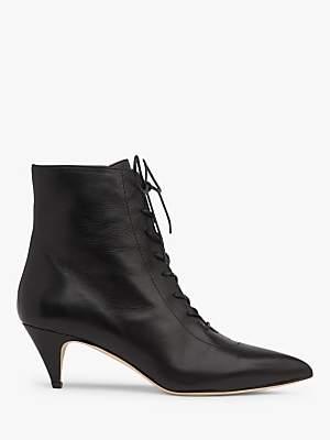 LK Bennett L.K.Bennett Pasey Lace Up Leather Ankle Boots, Black