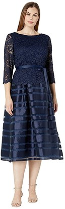 Alex Evenings Tea Length A-Line Mock Dress with Tie Belt (Navy) Women's Dress