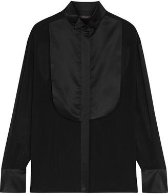 Max Mara Satin-paneled Silk-chiffon Shirt