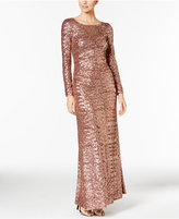 Vince Camuto Sequined Long-Sleeve Gown